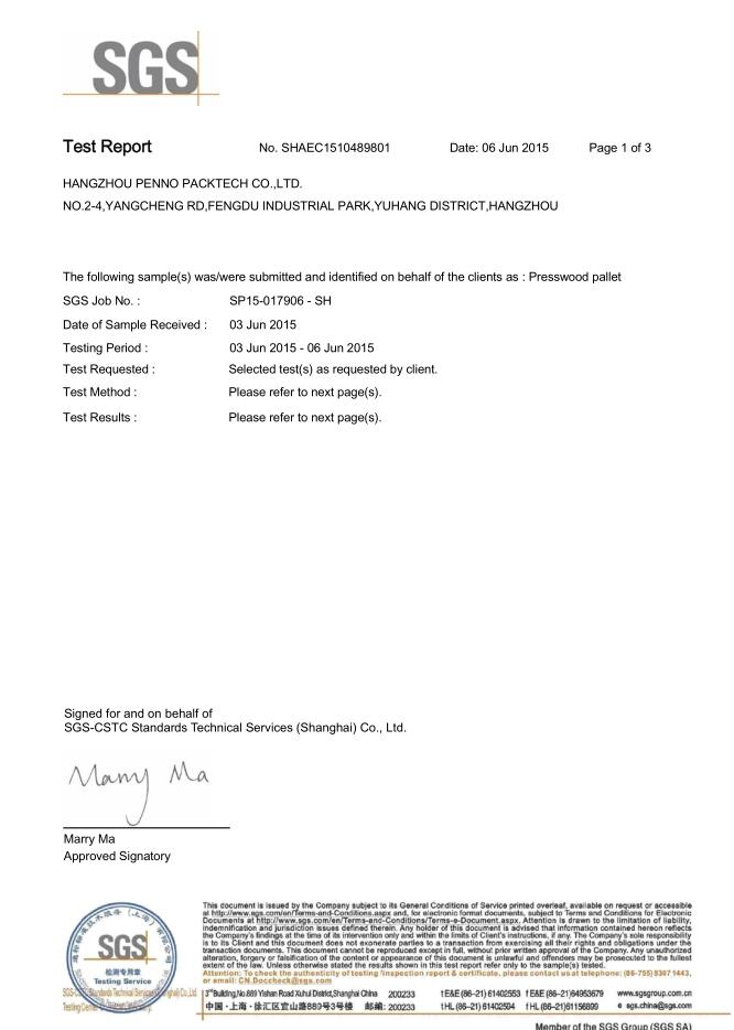 SGSFormaldehyde test report